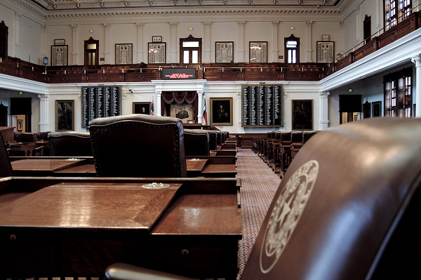 Senate chamber inside the Capitol Building of Austin Texas