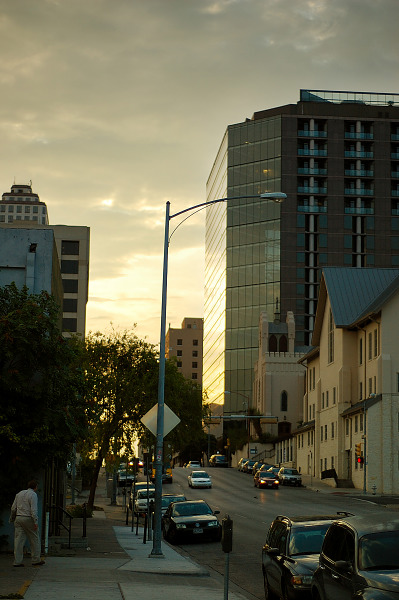 Buildings in the sunset, Seventh Street, Austin Texas