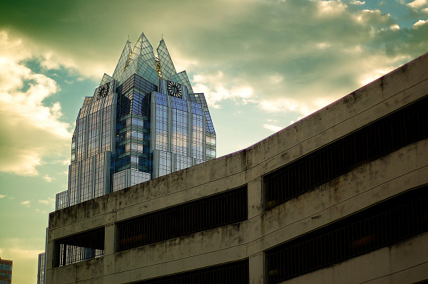 Frost Tower in the clouds, Austin Texas