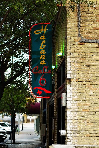 austin-downtown  > Habana Cafe sign in Sixth Street, Austin Texas