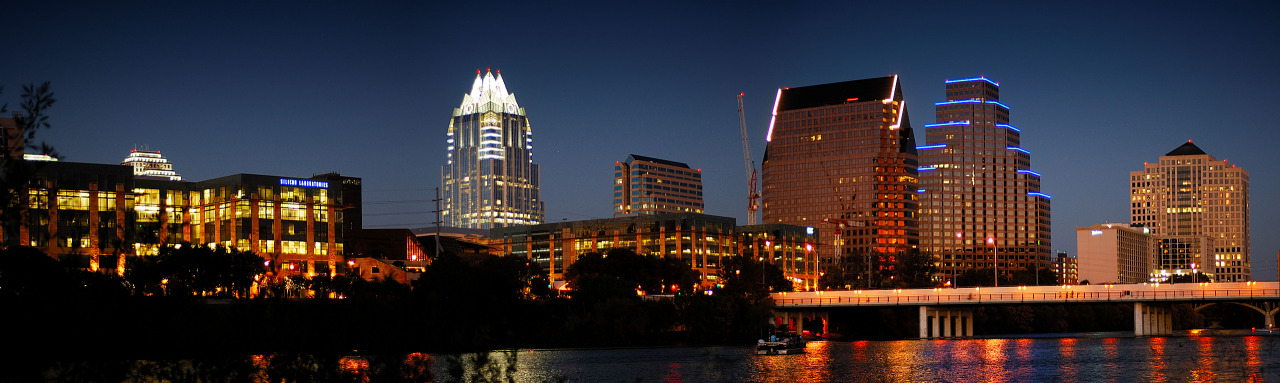 Panorama of the Austin Downtown Skyline as seen from Townlake