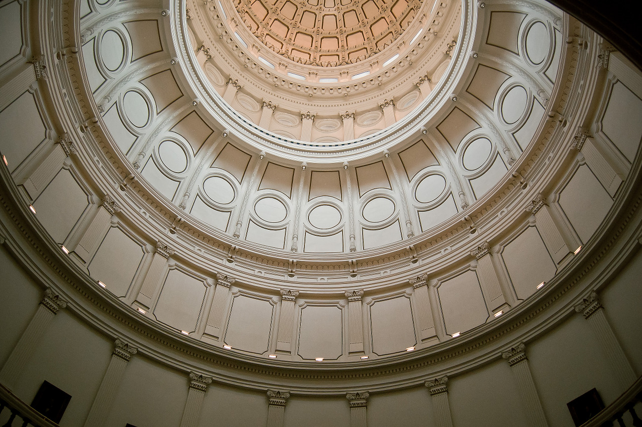 White roof inside the main dome of the Capitol Building in Austin Texas