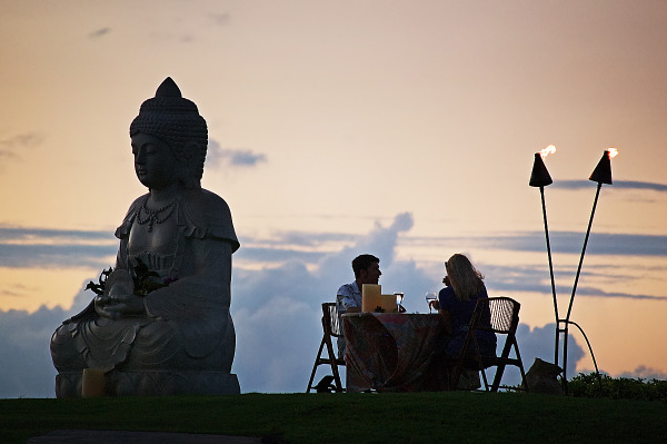 Romantic dinner on Buddha Pointe at sunset