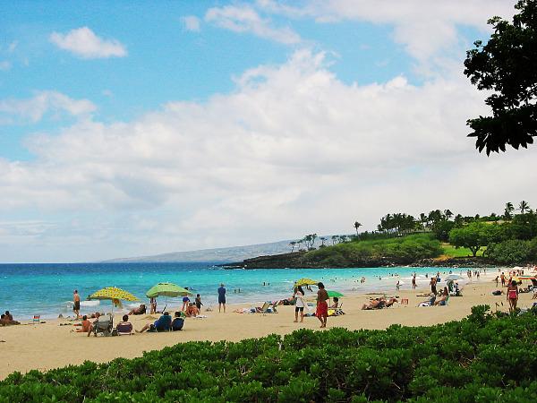 A view of Hapuna beach with blue sky on the Big Island of Hawaii