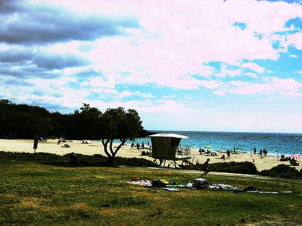 hapuna beach cloudy blue sky