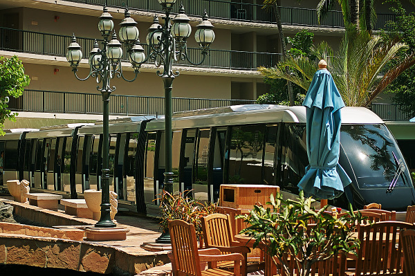 big-island-hawaii  > Commute train at Ocean Tower in Hilton Waikoloa Village