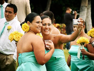 big-island-hawaii > Two smiling bridesmaids self shoot