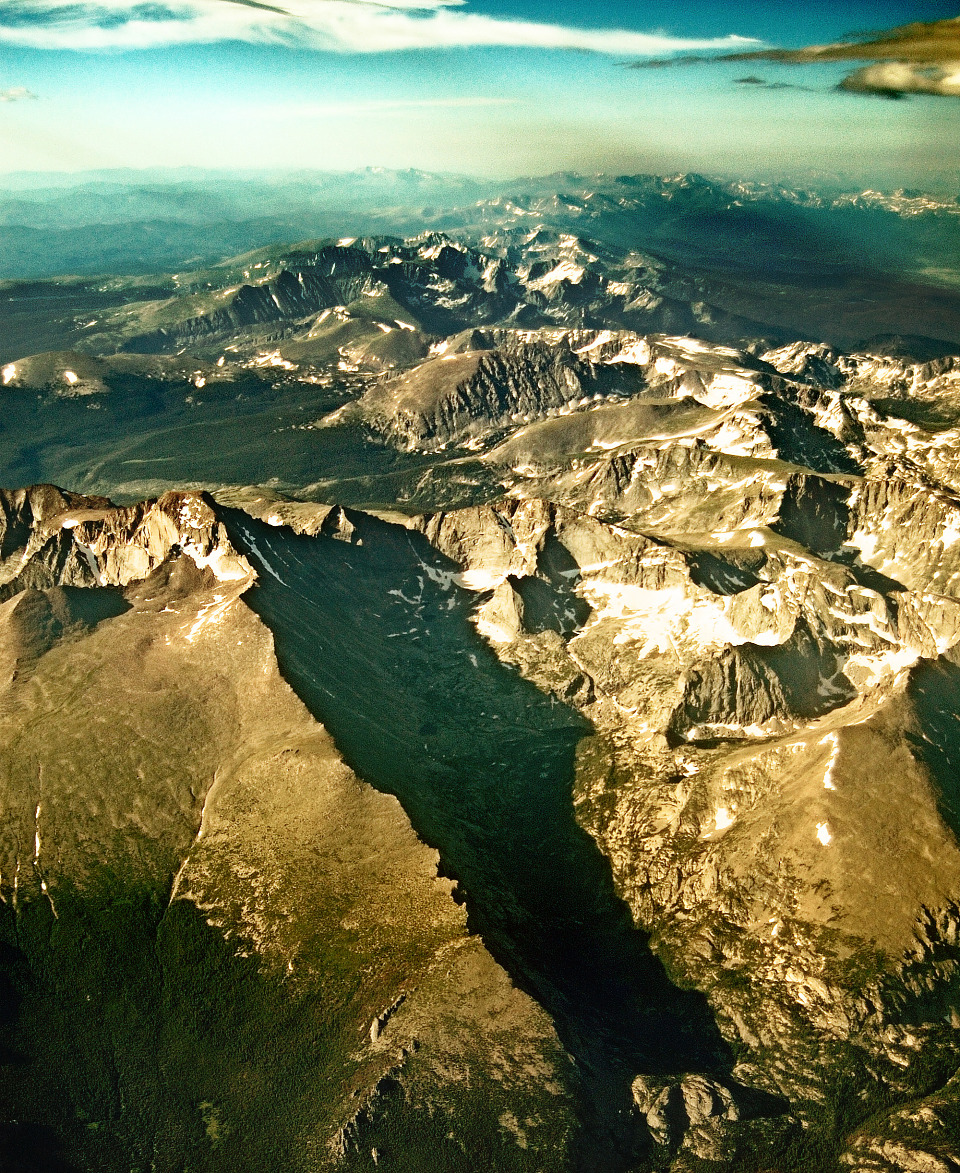 aerial mountains chain colorado airplane