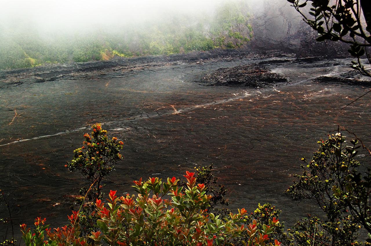 Fumes of the Kilauea Iki crater on Big Island, Hawaii