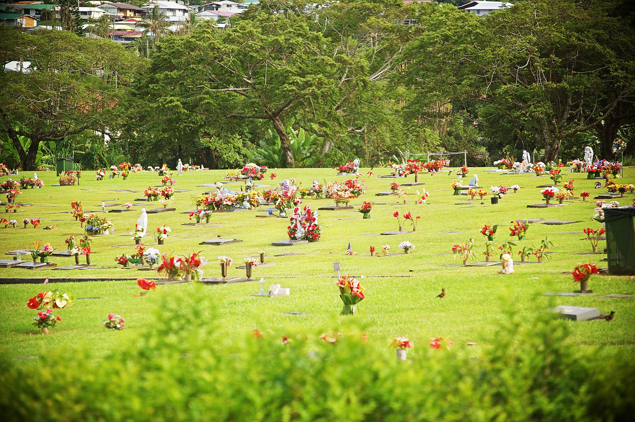 Grass and flowers at the cemetery of Hilo, Hawaii