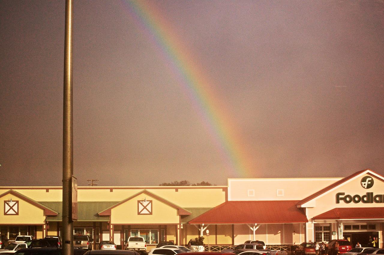 rainbow foodland parking sunset big island