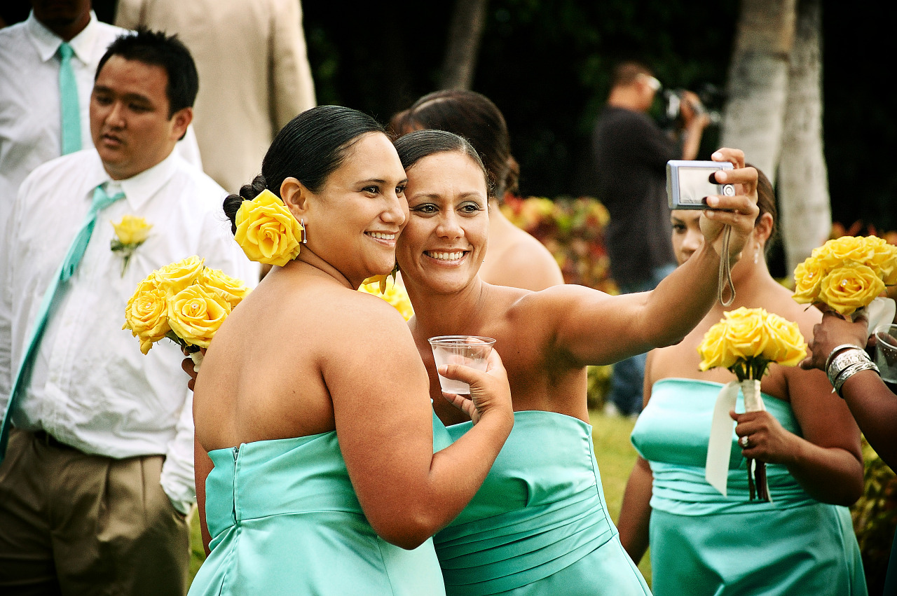 Two smiling bridesmaids self shoot