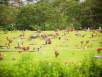 big-island-hawaii > Grass and flowers at the cemetery of Hilo, Hawaii