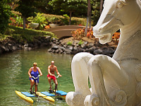 big-island-hawaii > Bicycles over the lagoon and Horse statue