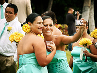big-island-hawaii > Two smiling bridesmaids self shoot