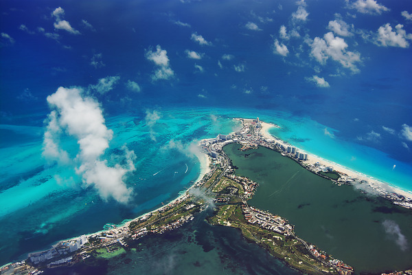 Aerial view of the lagoons and turquoise beach of Cancun Mexico