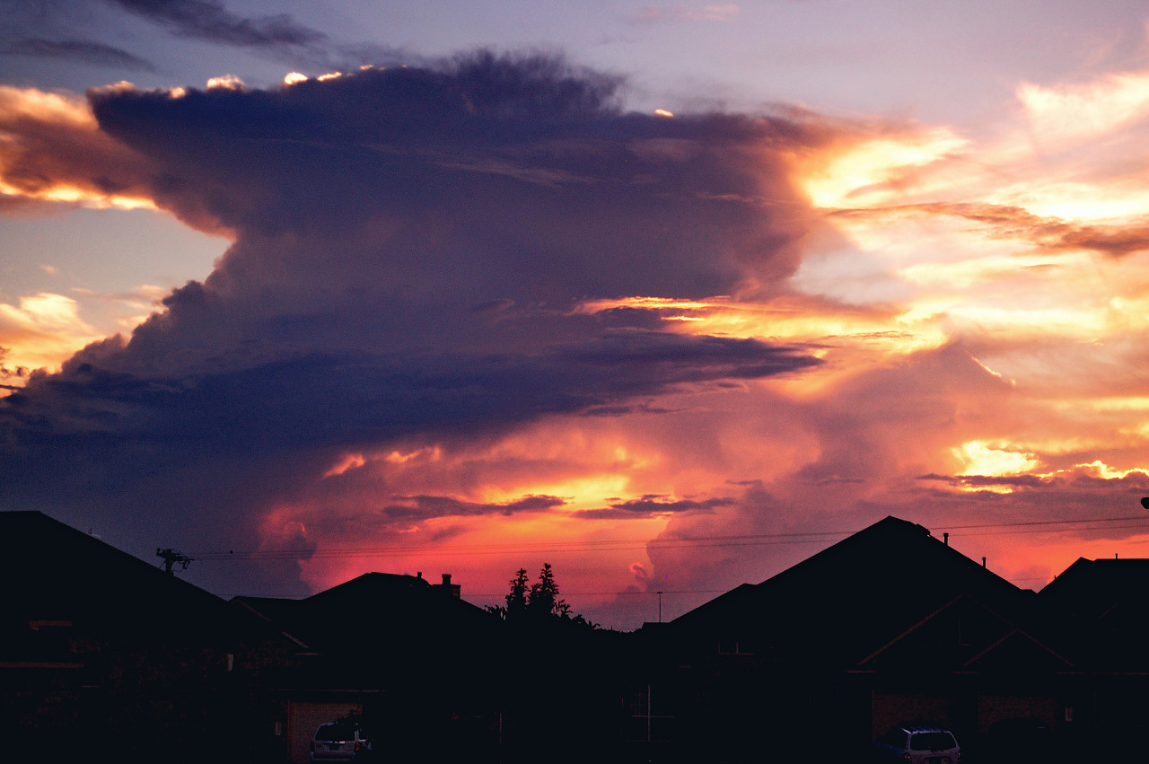 Explosion at sunset, storm clouds of Texas