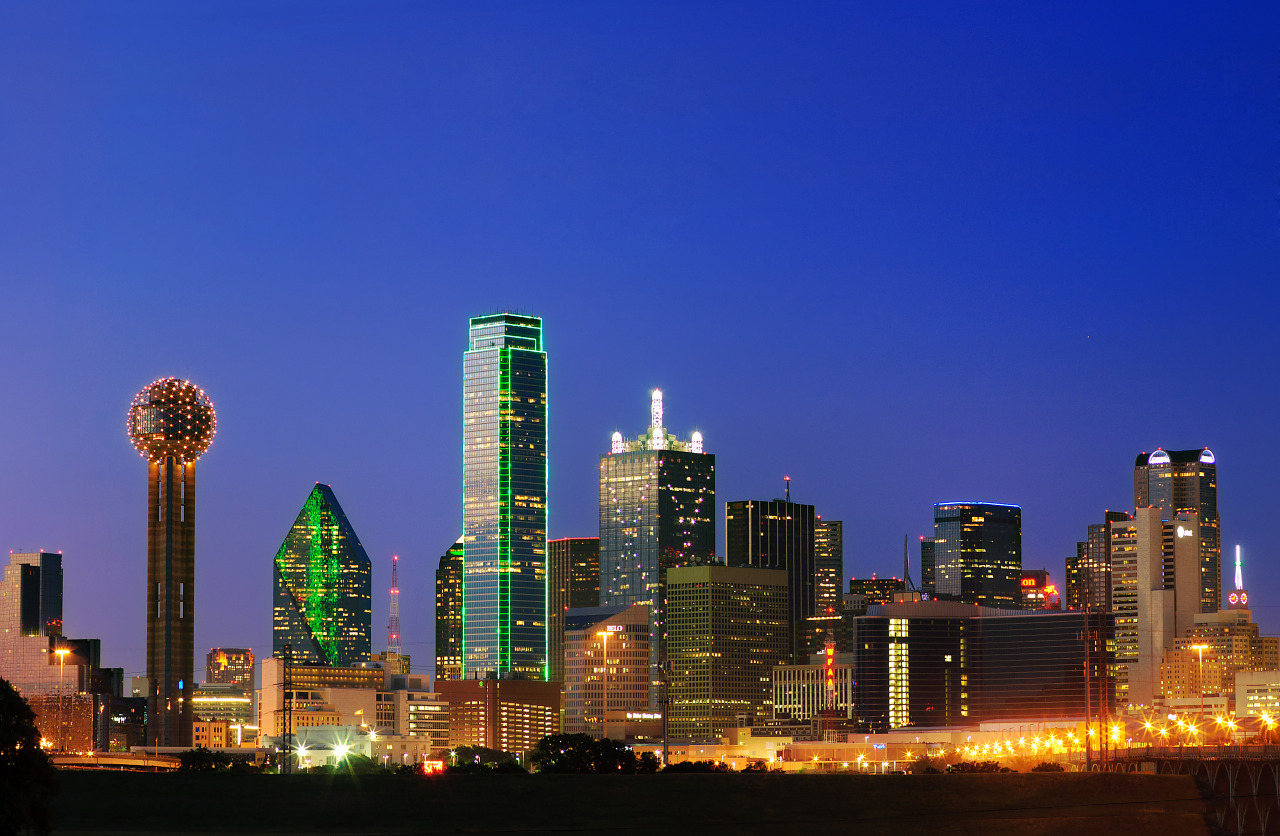 Close view of the downtown Dallas skyline