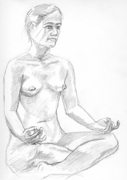 drawing-painting-traditional  > Girl naked in Lotus pose
