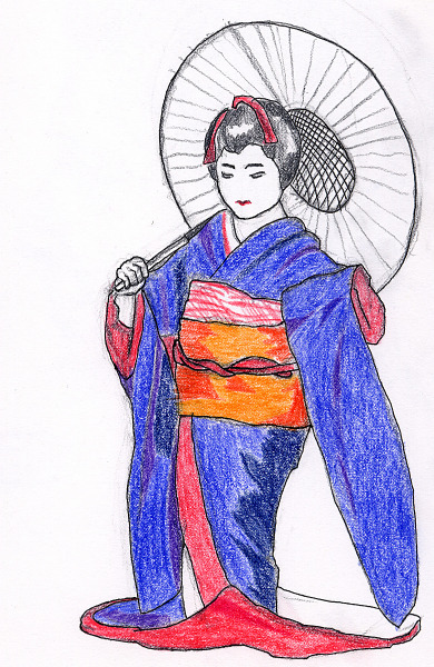 drawing-painting-traditional  > Young japanese child in traditional kimono
