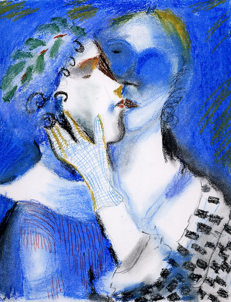 drawing-painting-traditional  &gt; Lovers kissing