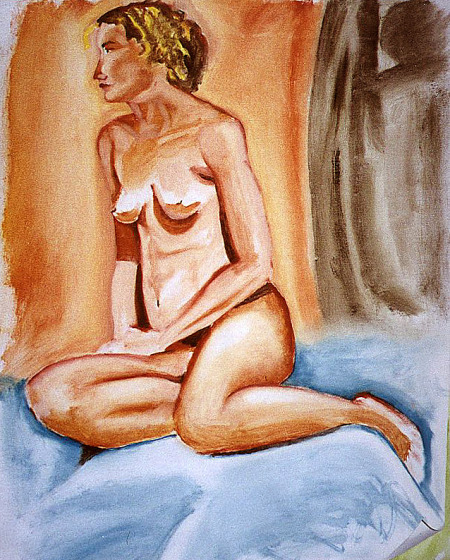 drawing-painting-traditional  > Woman Nude Sitting