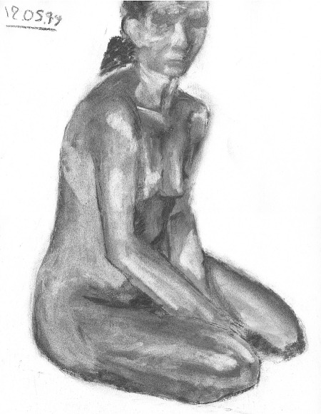 drawing-painting-traditional  > Woman nude sitting pose