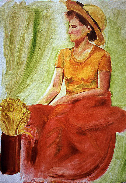 drawing-painting-traditional  > Woman sitting with flowers and red dress