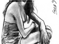 drawing-painting-traditional > Woman kneeling down with cleavage