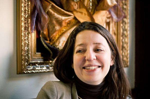 Nathalie laughing at the italian restaurant in Montparnasse, Paris