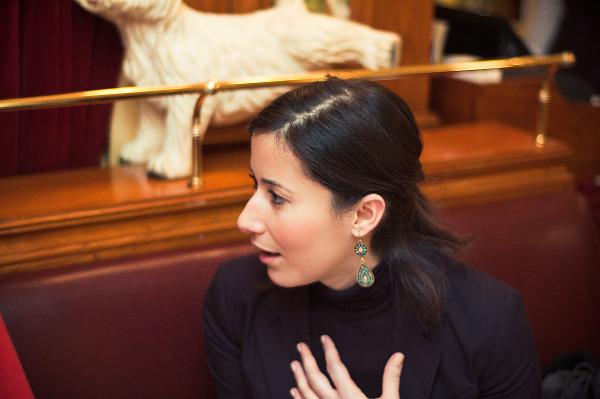Radia talking, portrait profile, New year in Paris, France