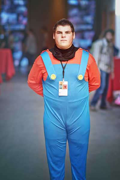 Blue overalls cosplay at Gearbox Community Day 2013