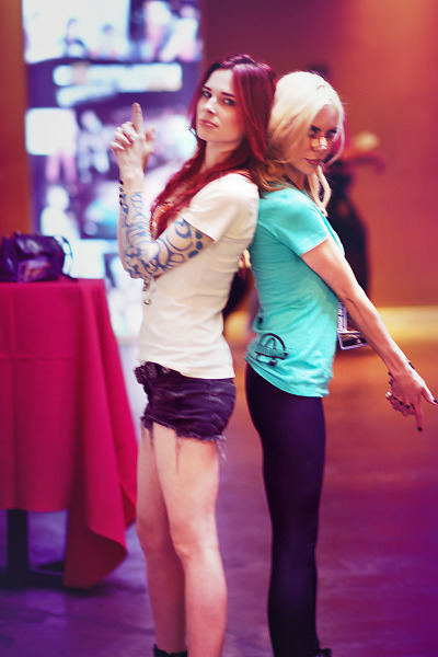 Chloe Dykstra and Michele Morrow as hosts of Gearbox Community Day 2013 001