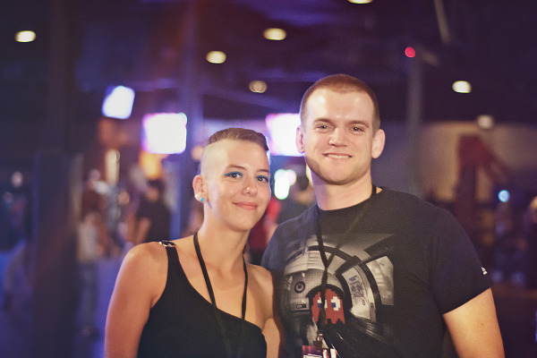 Couple with short hair at wrap-up party of Gearbox Community Day 2013