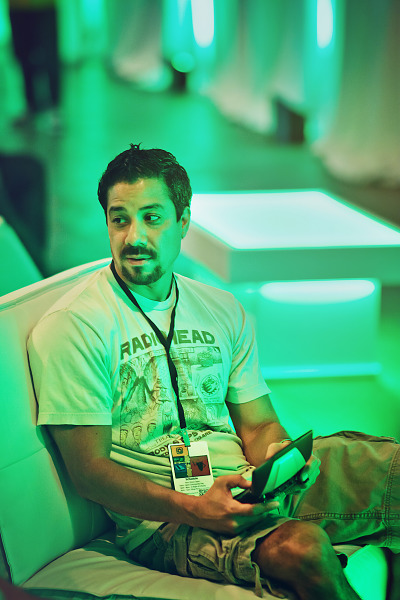 Gamer playing Nvidia Shield in Lounge of Gearbox Community Day 2013