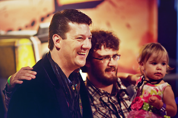 Randy Pitchford owner of Gearbox posing with fans at Gearbox Community Day 2013