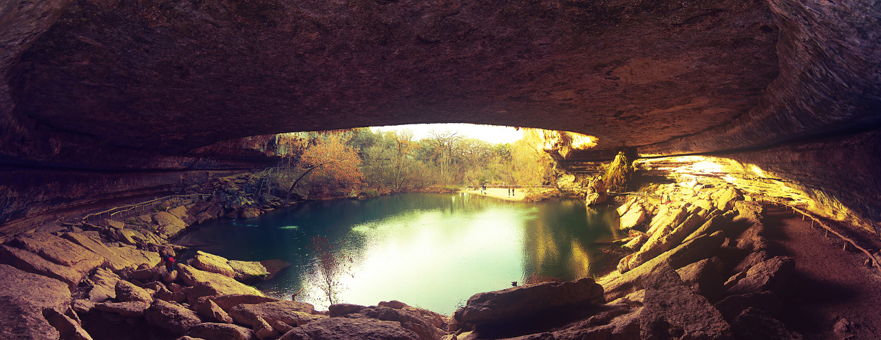 Hamilton pool panorama at sunset