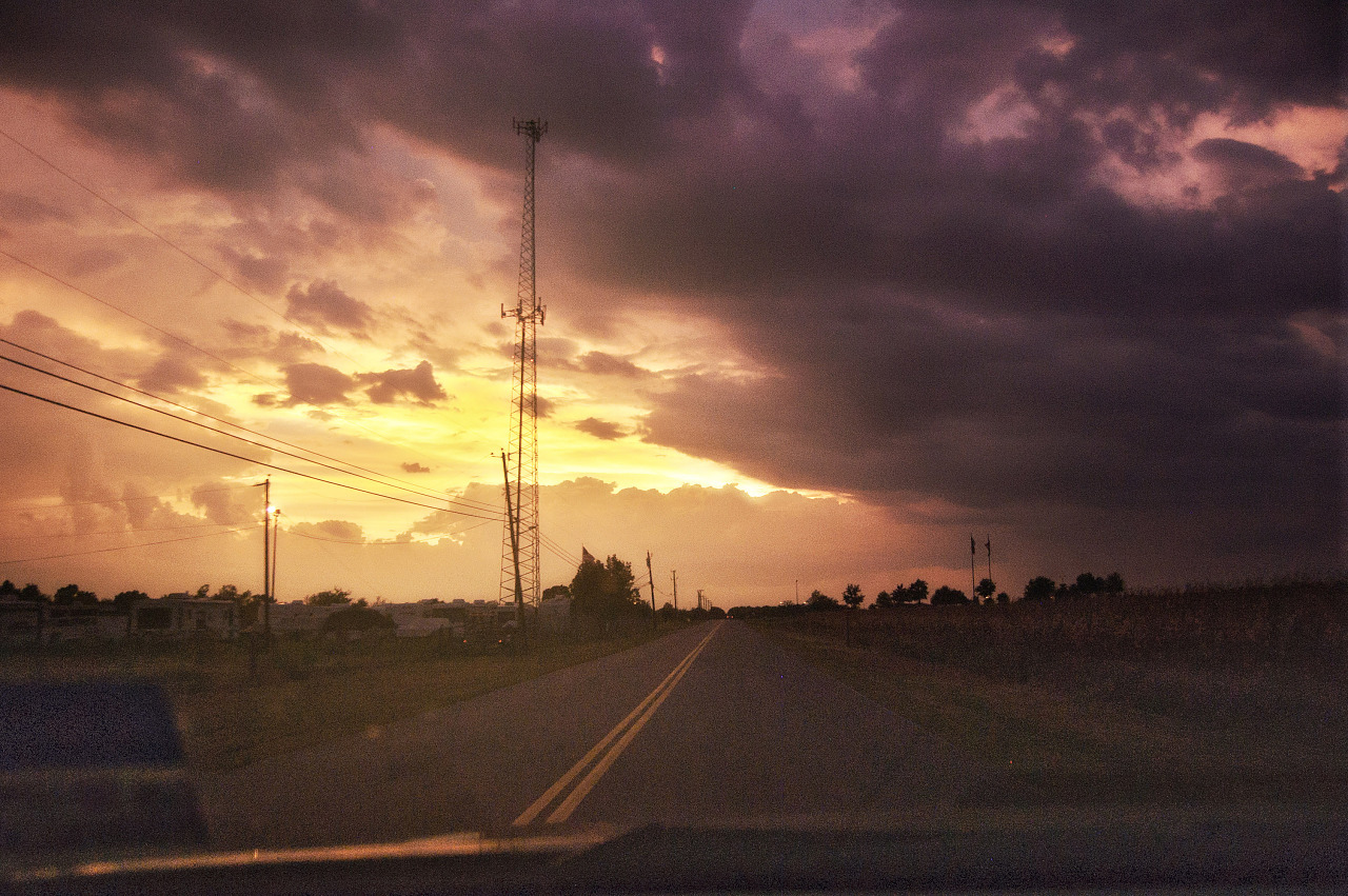 Storm clouds at sunset over Kelly lane in Pflugerville, Texas