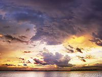 lake-pflugerville-sunset > Panorama shot of sunset with spectacular clouds at Lake Pflugerville