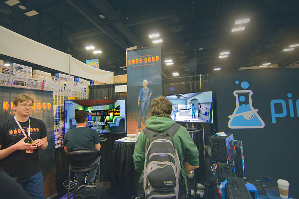 Booth of the developer of Knee Deep an adventure game in PAX South 2016