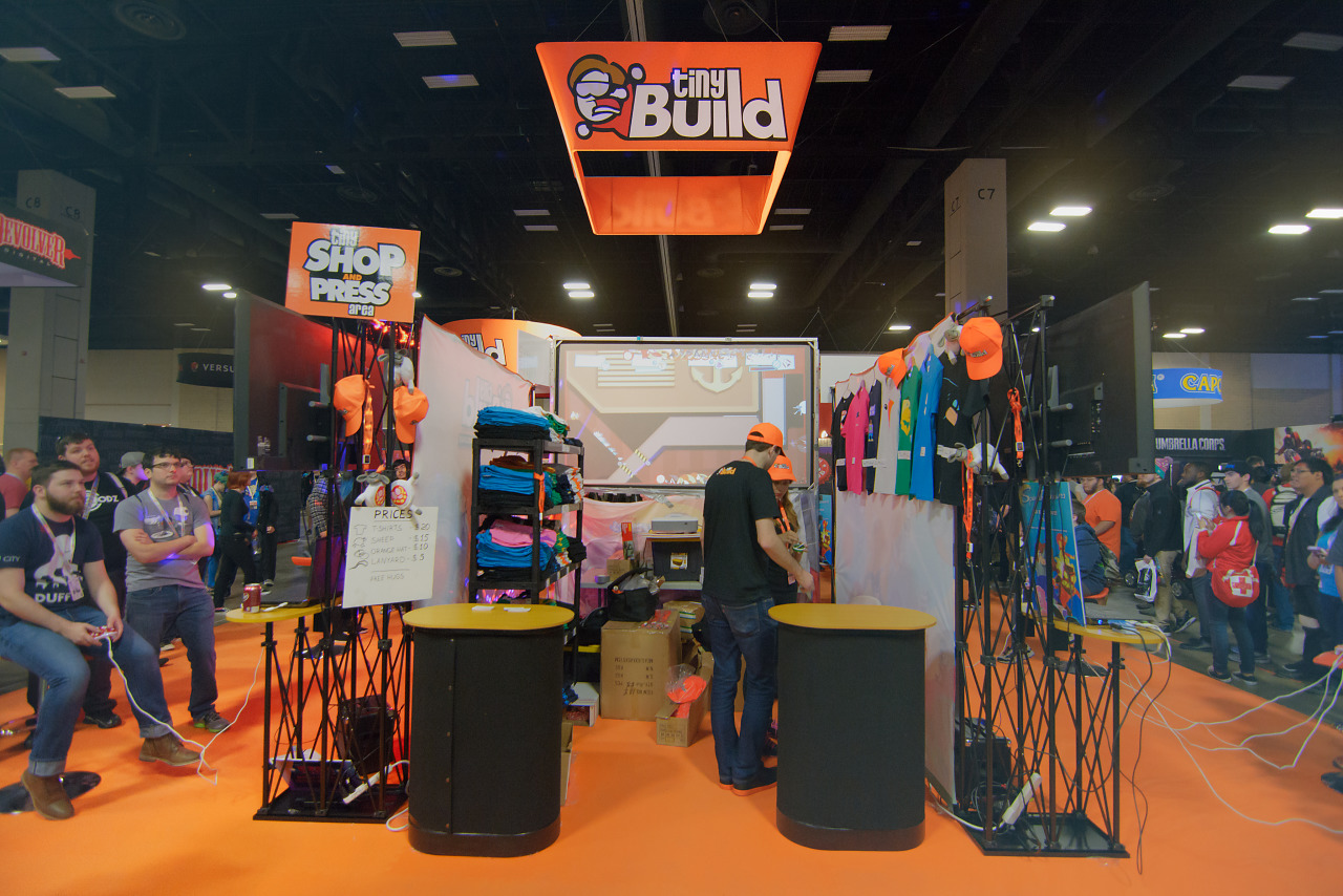 Booth of Tiny Build an Indie Publisher on the show floor of PAX South 2016