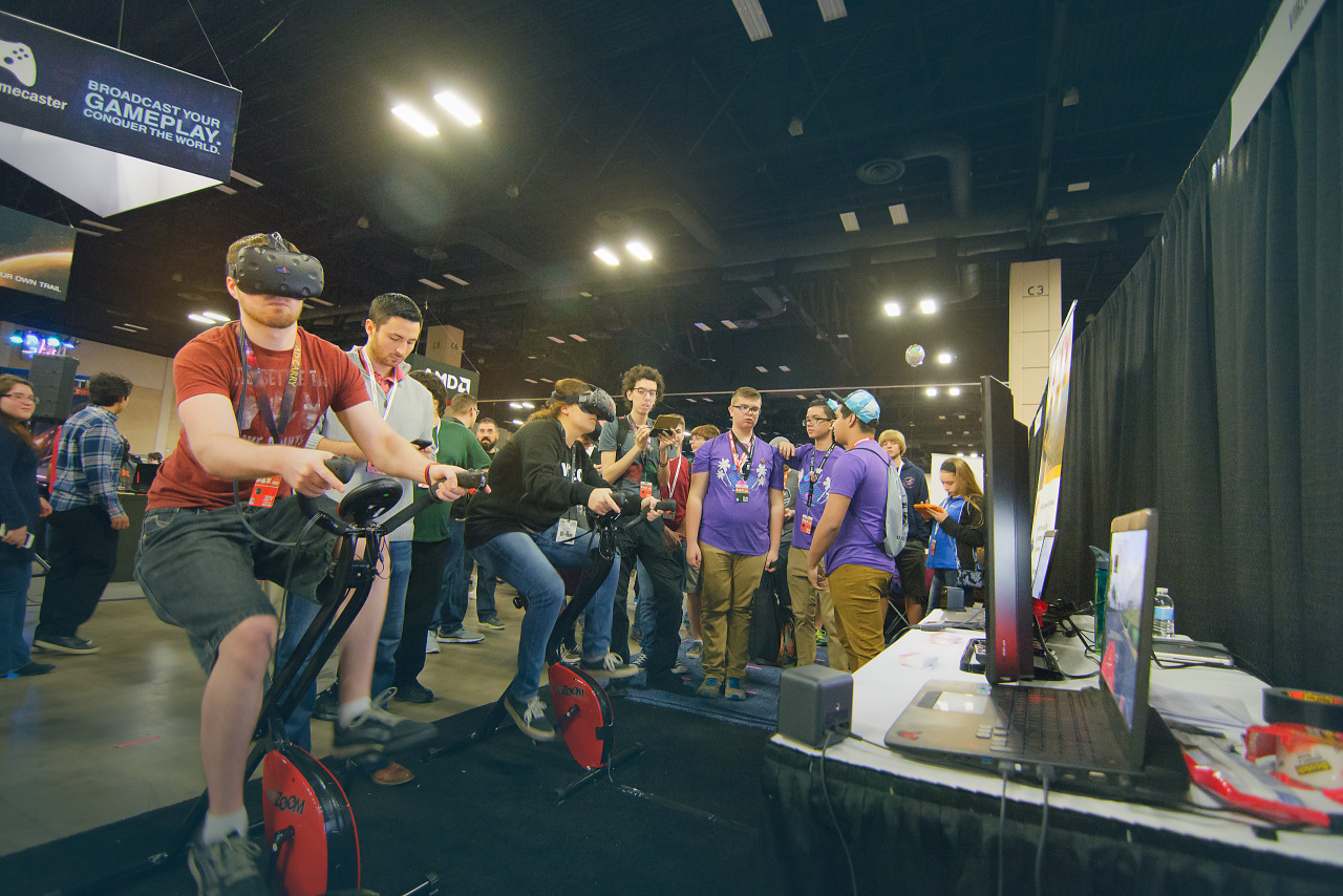 Booth of Virzoom a VR peripheral at PAX south 2016