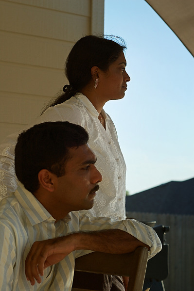 Deepthi and Purna looking toward sunset