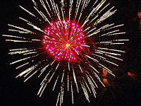 pflugerville-texas > Large fireworks explosion with pink center flower