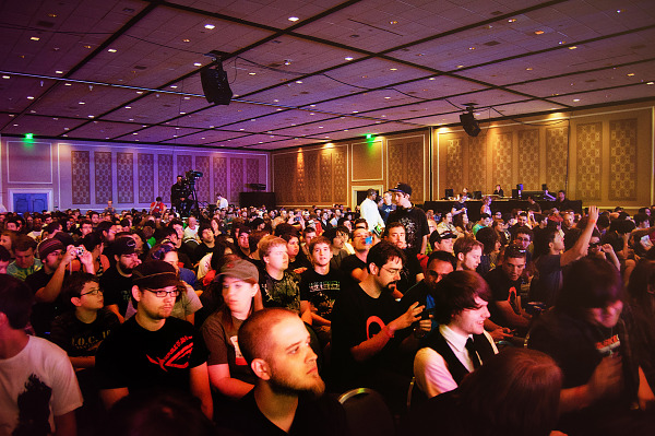 Quakecon 2011 - room full of people at Skyrim demo by Bethesda