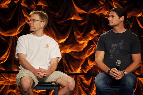 John Carmack and Todd Hollenshead at the VR insanity panel at Quakecon 2012