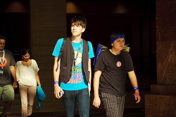 Odd couple of gamers walking the hallway of Hilton at Quakecon 2012