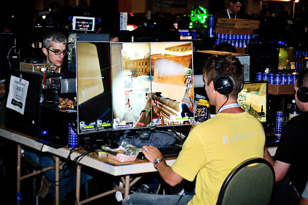 Nice triple screen setup in BYOC area of Quakecon 2012