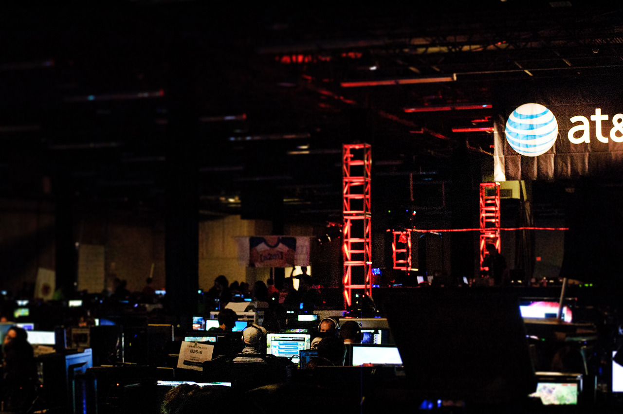 The Death Star hovers over the BYOC area of Quakecon 2012