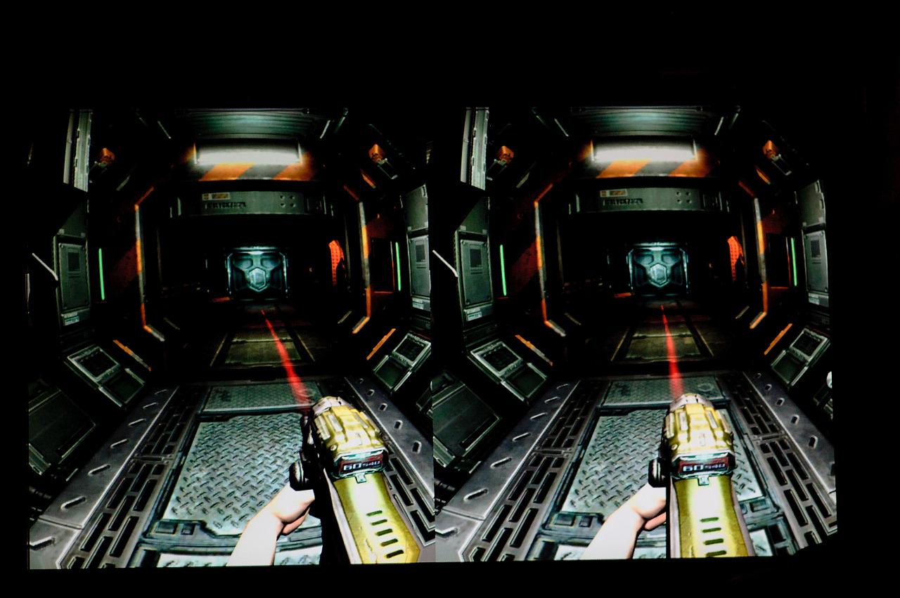 Doom 3 BFG screenshot with Oculus Rift distortion at Quakecon 2012